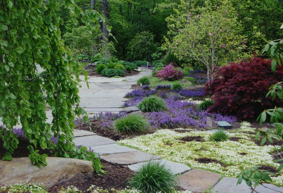 Natural Landscaping, Perennial Garden, Natural garden Pathway & Stone Patio in Saddle River, Bergen County , NJ.