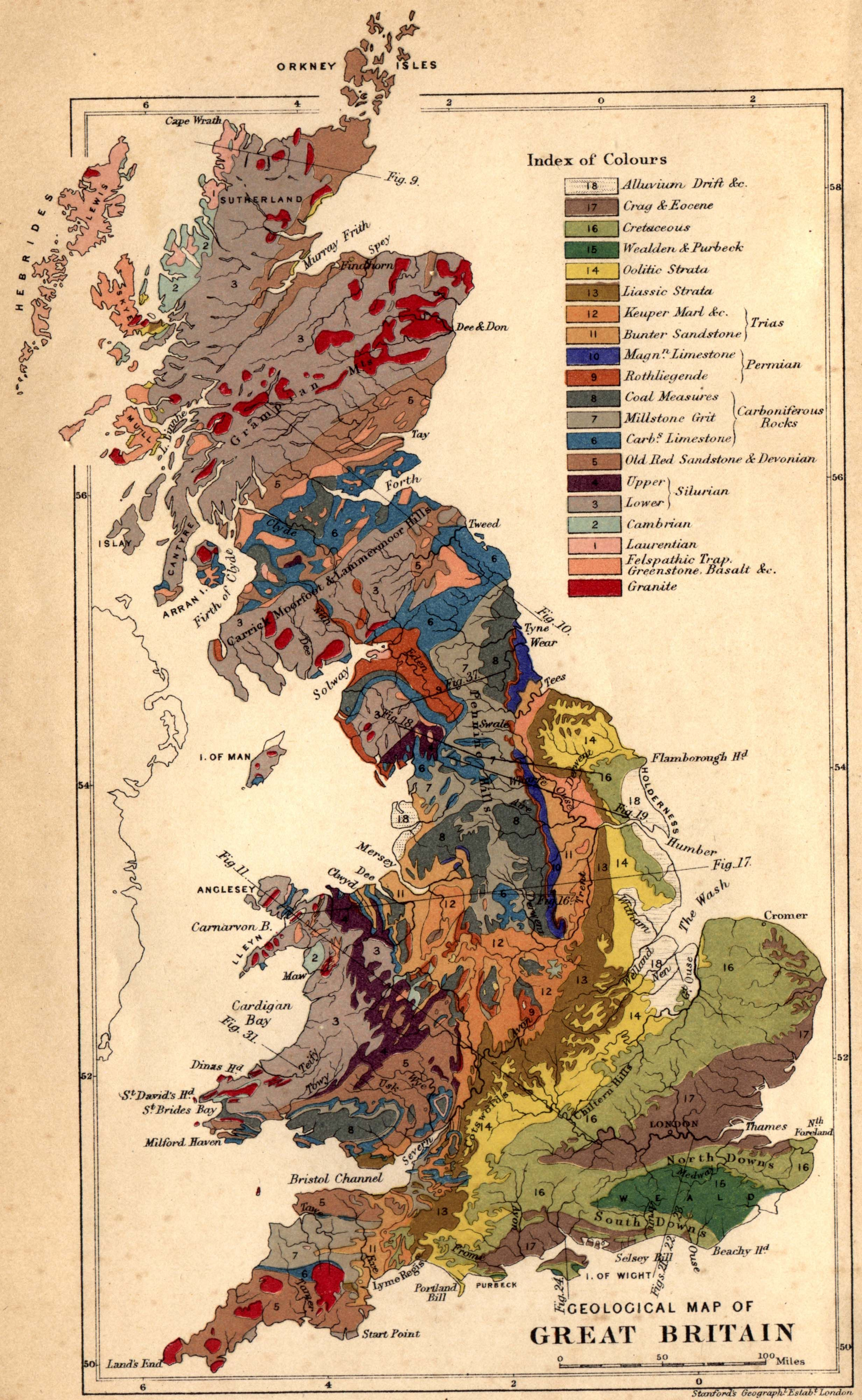 Geological Map of Great Britain Created in 1878 by Edward