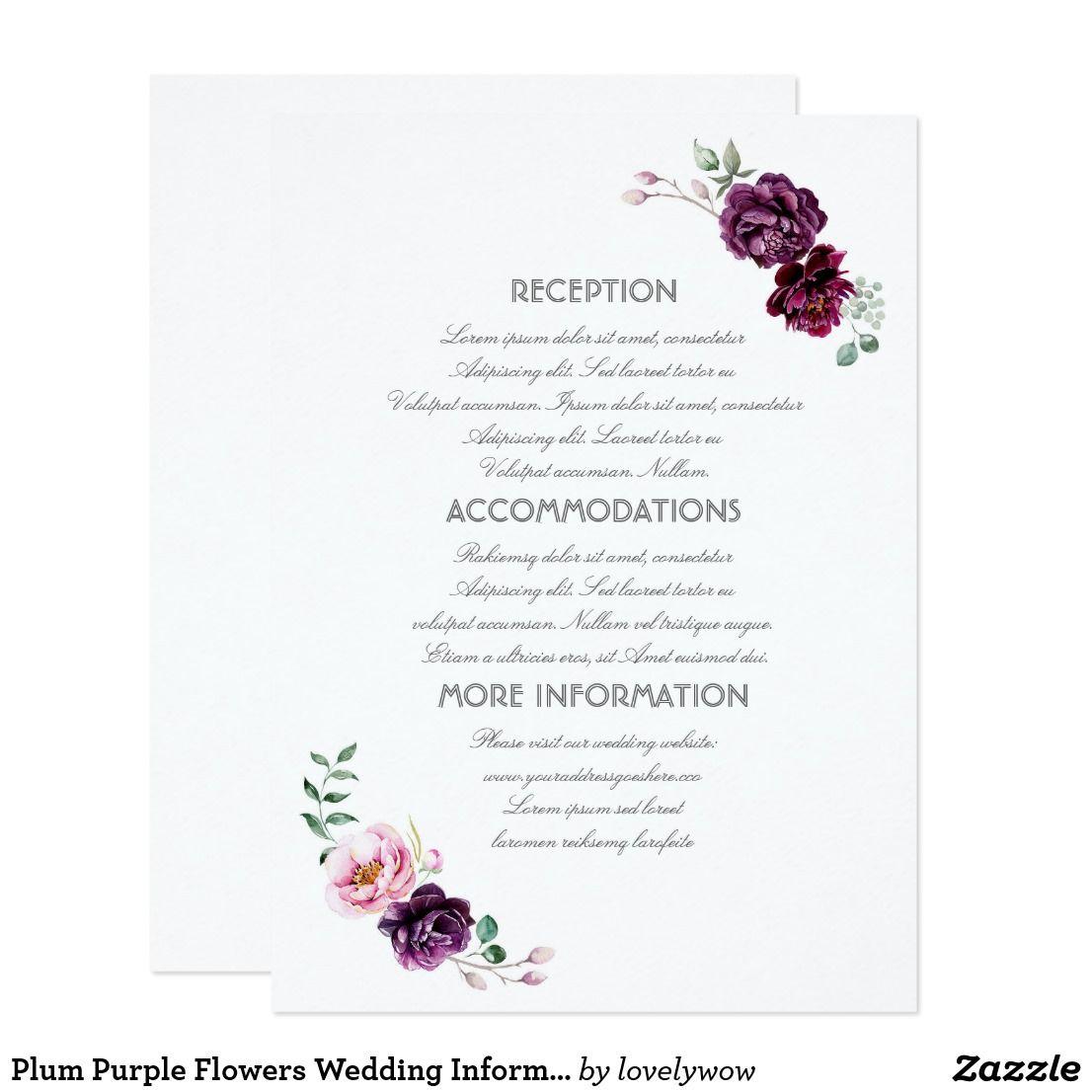 Purple Wedding Ideas With Pretty Details: Plum Purple Flowers Wedding Information Guest Card