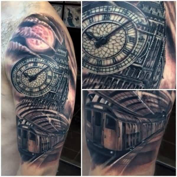 London-Clock-Tower-Big-Ben-Tattoo-On-Left-Sleeve.jpg (600 ...