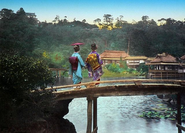 Two Lovely Geisha on a Garden Bridge in Hikone, Near Kyoto by Okinawa Soba, via Flickr. This is a large-format 1890s Salt Print