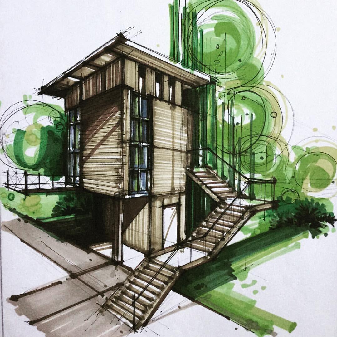 Architectural illustration pinterest architektur zeichnungen - Architektur skizzen zeichnen ...