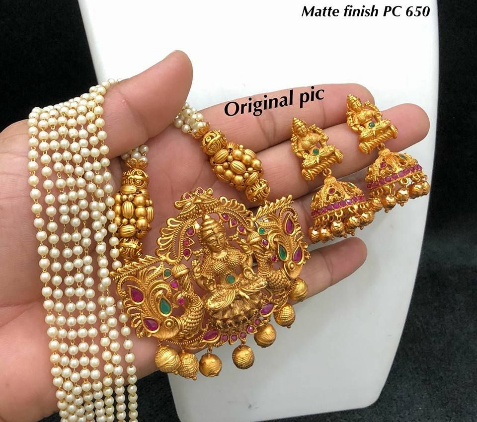 90d9fbcf0 Beautiful oen gram gold matte finish lakshmi devi pendant with amtching  earrings. 19 June 2018