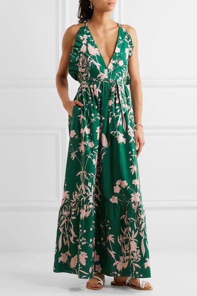 Violeta Ruffle-trimmed Printed Cotton-poplin Maxi Dress - Green Borgo De Nor zy9h1