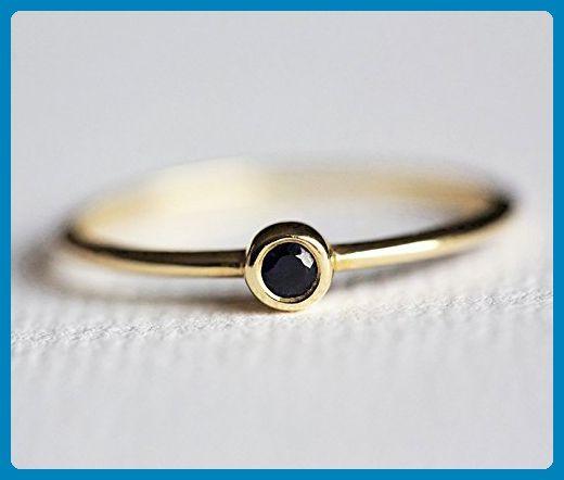 Black Diamond Ring, Tiny Black Diamond Band, Black Diamond Engagement Ring, Solitaire Black Diamond - Wedding and engagement rings (*Amazon Partner-Link)