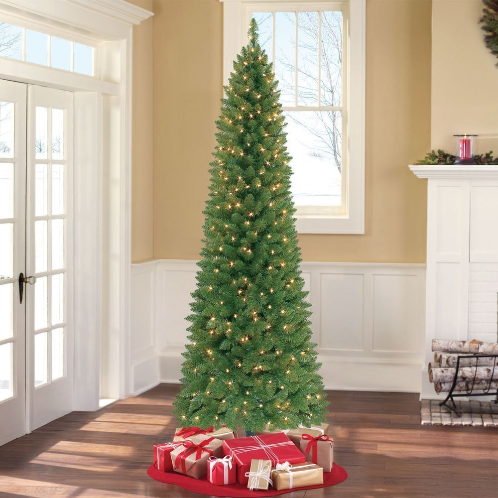 Pre Lit Christmas Tree 7ft Ultra Slim Thin Narrow Fake Skinny Prelit Clearan Pre Lit Christmas Tree Slim Artificial Christmas Trees Christmas Tree Clear Lights