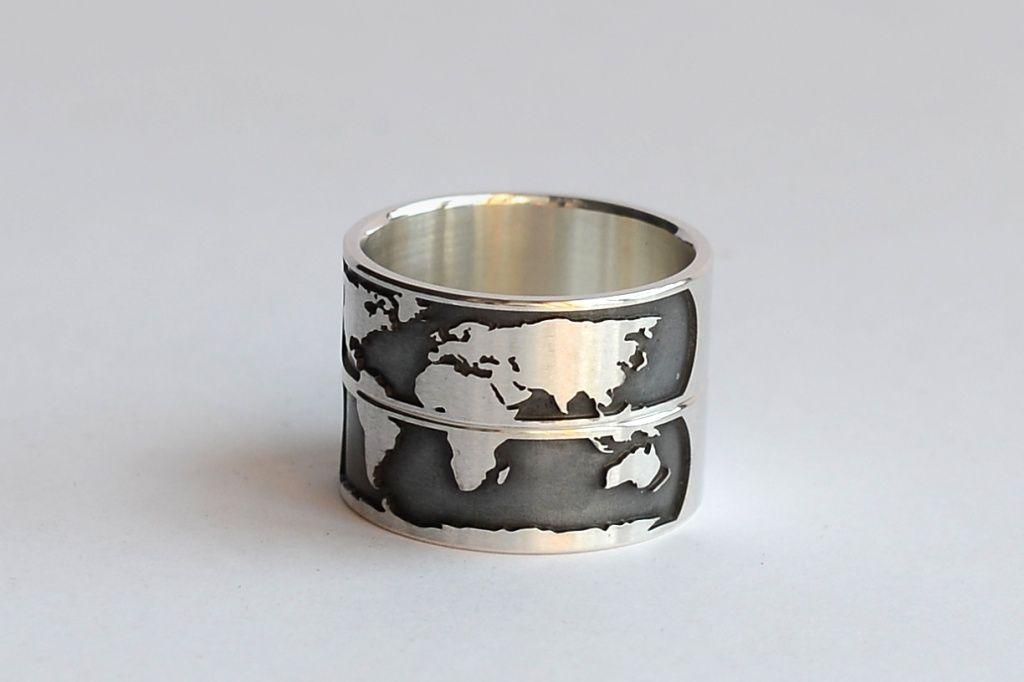 """Обручальные кольца """"Карта мира""""   Unison Jewellery   серебро   заказать"""