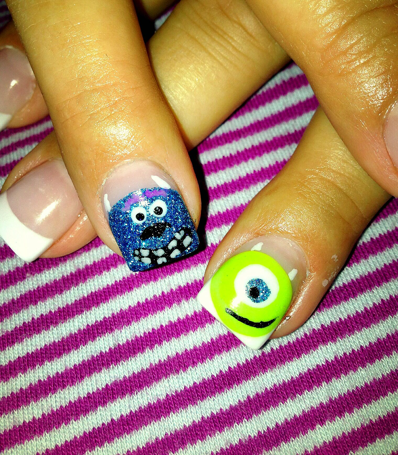 Monsters Inc. Nail Art, Mike Wazowski and Sulley. | Nails ...