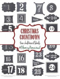 Christmas Countdown Chalkboard Labels-free printables