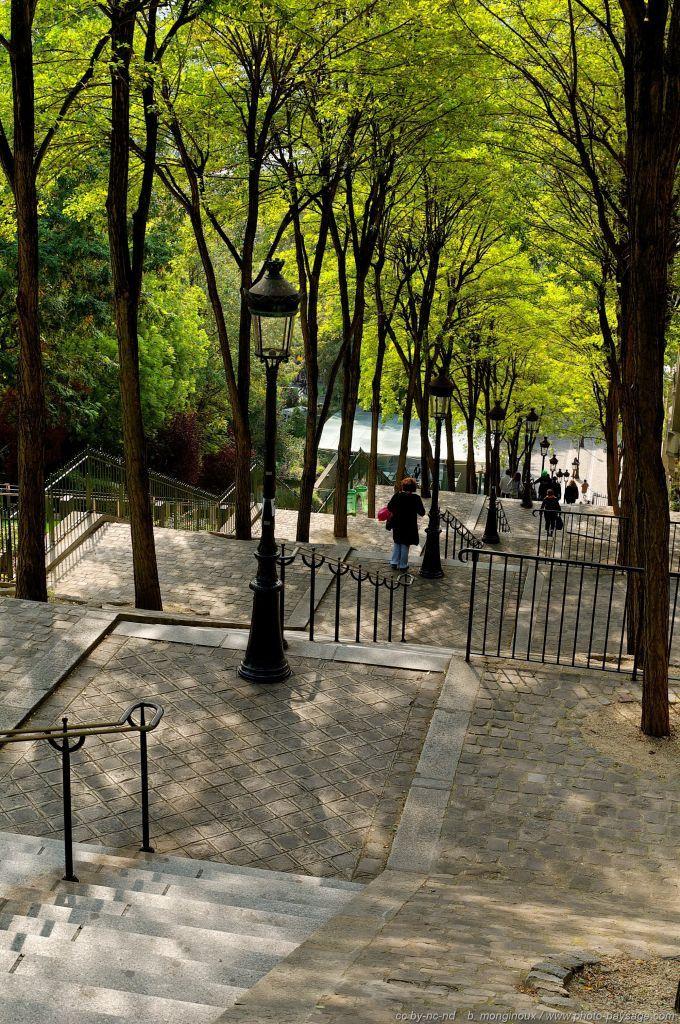 Les escaliers de la Butte Montmartre - Paris, France   Les ...