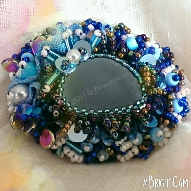 Flowerglass Romance Sea Glass Beaded Brooch
