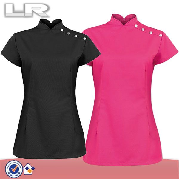 Wholesale mandarin stand collar hotel diamante fashion for Uniform for spa staff