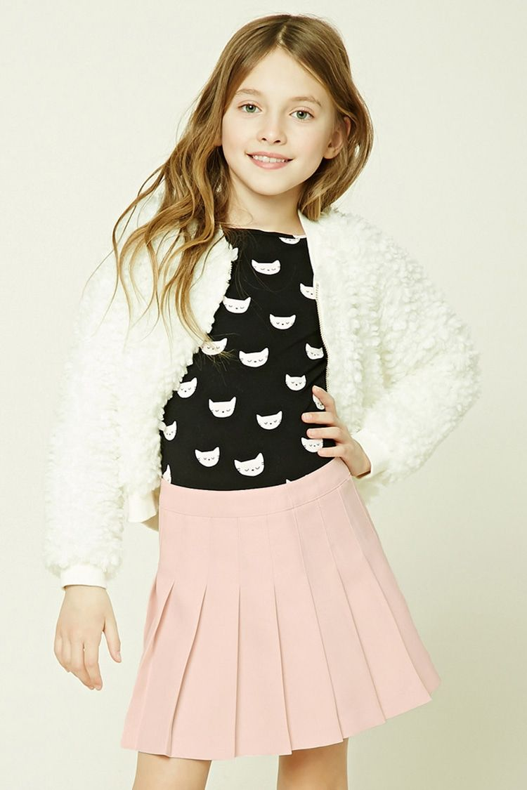 53334341a3 Forever 21 Girls - A woven mini skirt featuring allover pleats and a  concealed back zipper.