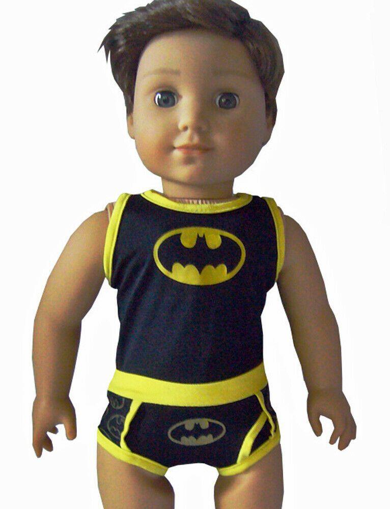 Doll Clothes fits American Girl Black Yellow Batman Underwear Set Boy Logan