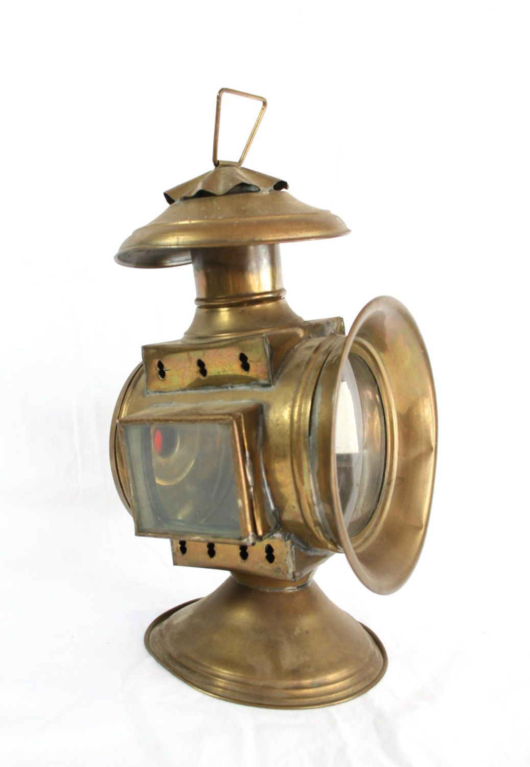 Brass Signal Light Lamp Old Railroad Lantern Train Decor Etsy Railroad Lanterns Lamp Train Decor