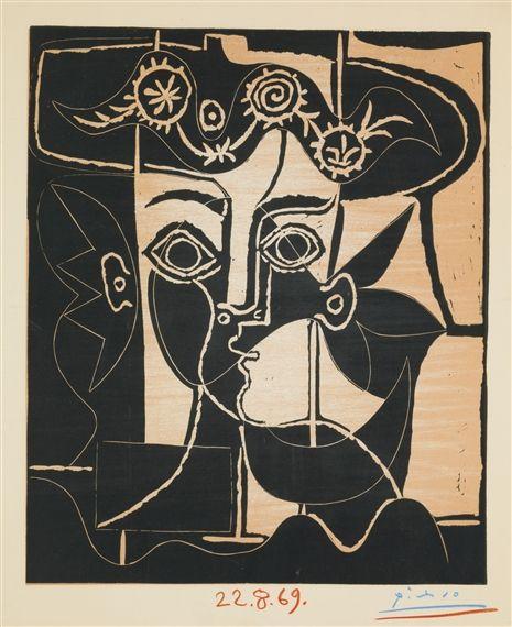Pablo Picasso, GRAND TÊTE DE FEMME AU CHAPEAU ORNÉ