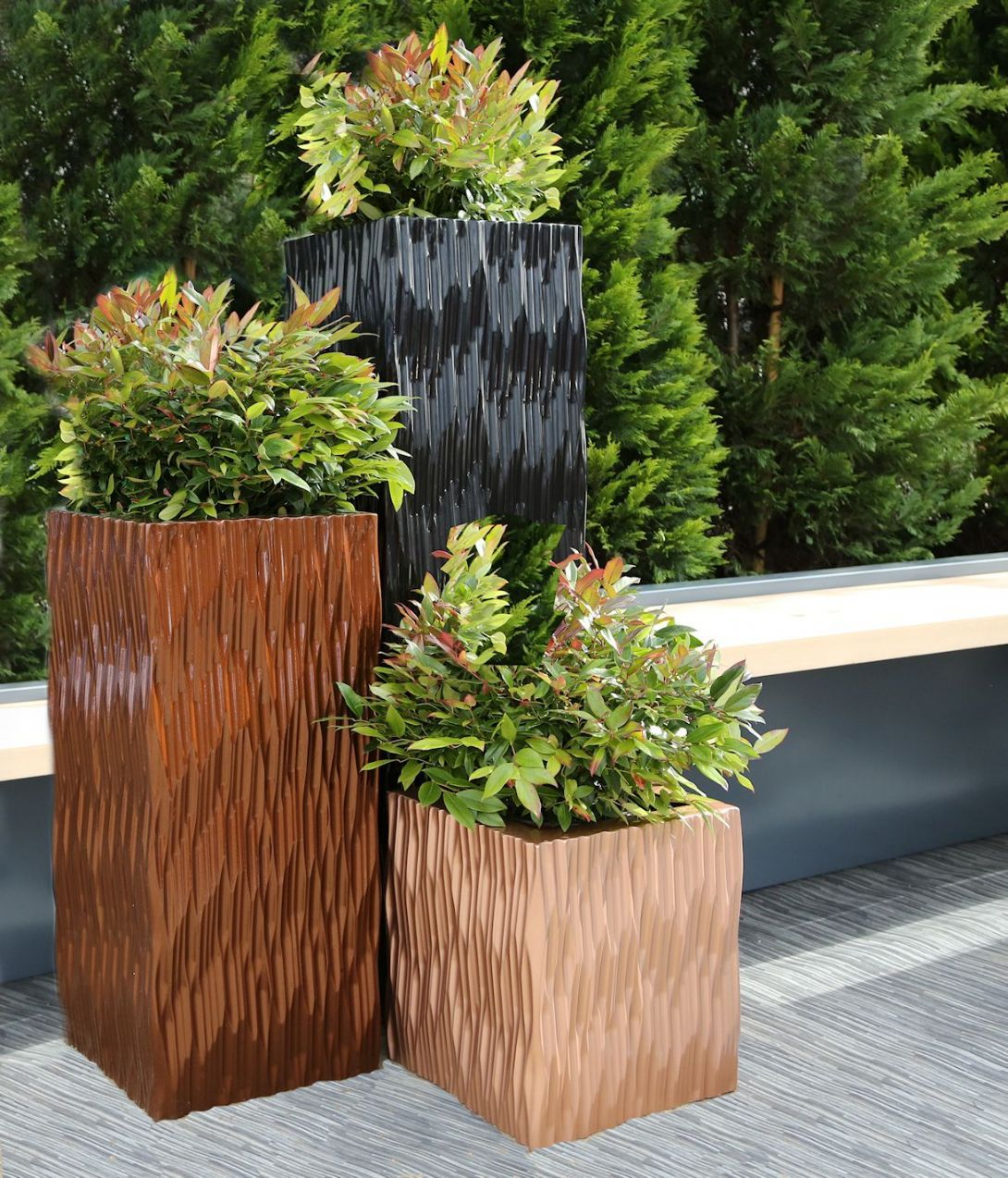 Small Garden Yard With Cute Purple Plants Contemporary: GRp Flexi Tall Square & Trough Planters From Potstore.co