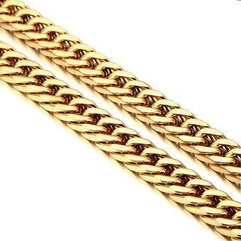 สินค้ามาใหม่ พร้อมส่ง  ราคาถูก Stainless Steel Golden Cool Mens Curb Necklace N175 (Intl) คุณภาพดี ราคาถูก เก็บเงินปลายทาง