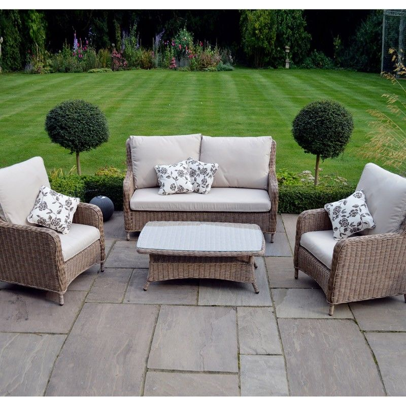 Stylish Garden Furniture Saigon heritage highback lounge coffee set with cosy armchairs sofa leisuregrow saigon heritage highback lounge coffee set natural available to buy online from garden furniture world we sell a large range of garden workwithnaturefo