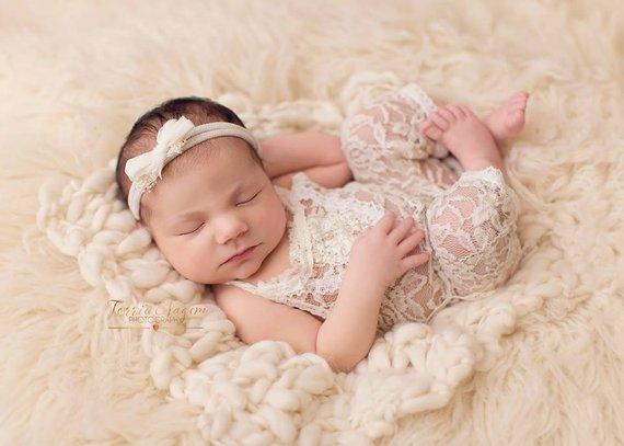 f530d4cb352 Newborn Lace Romper  Newborn Girl Romper  Newborn Romper Prop  Beige   Newborn Outfit  Baby Girl Romp