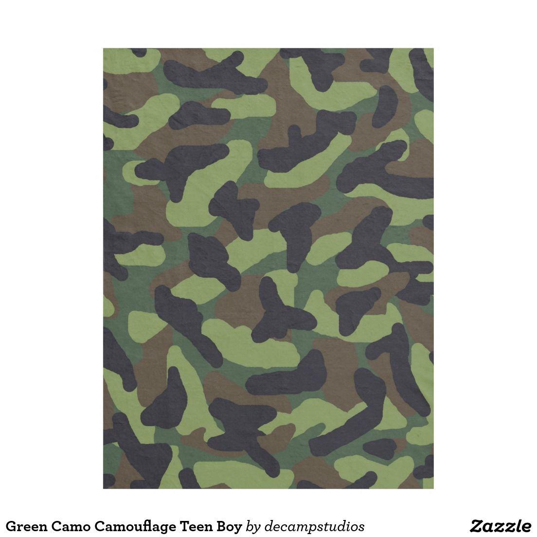 Green camo camouflage teen boy fleece blanket teen boys camo