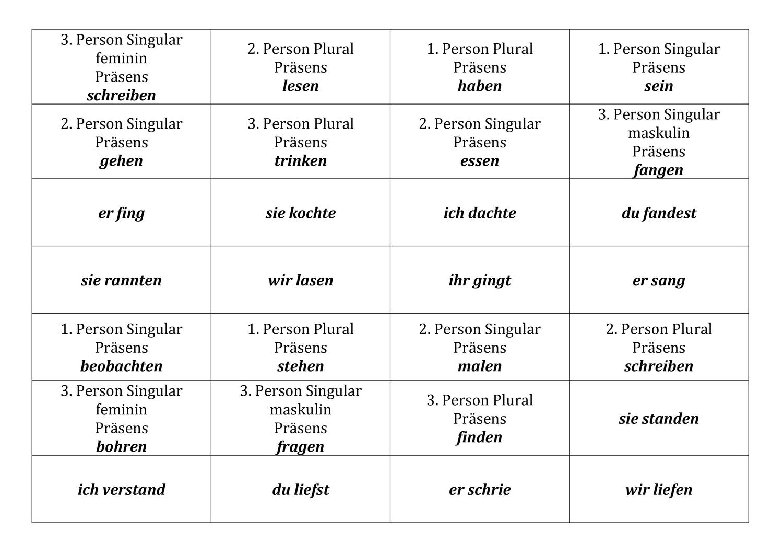 Kartchen Personalformen Prasens Und Prateritum Unterrichtsmaterial Im Fach Deutsch In 2020 Unterrichtsmaterial Deutsch Lernen Karten