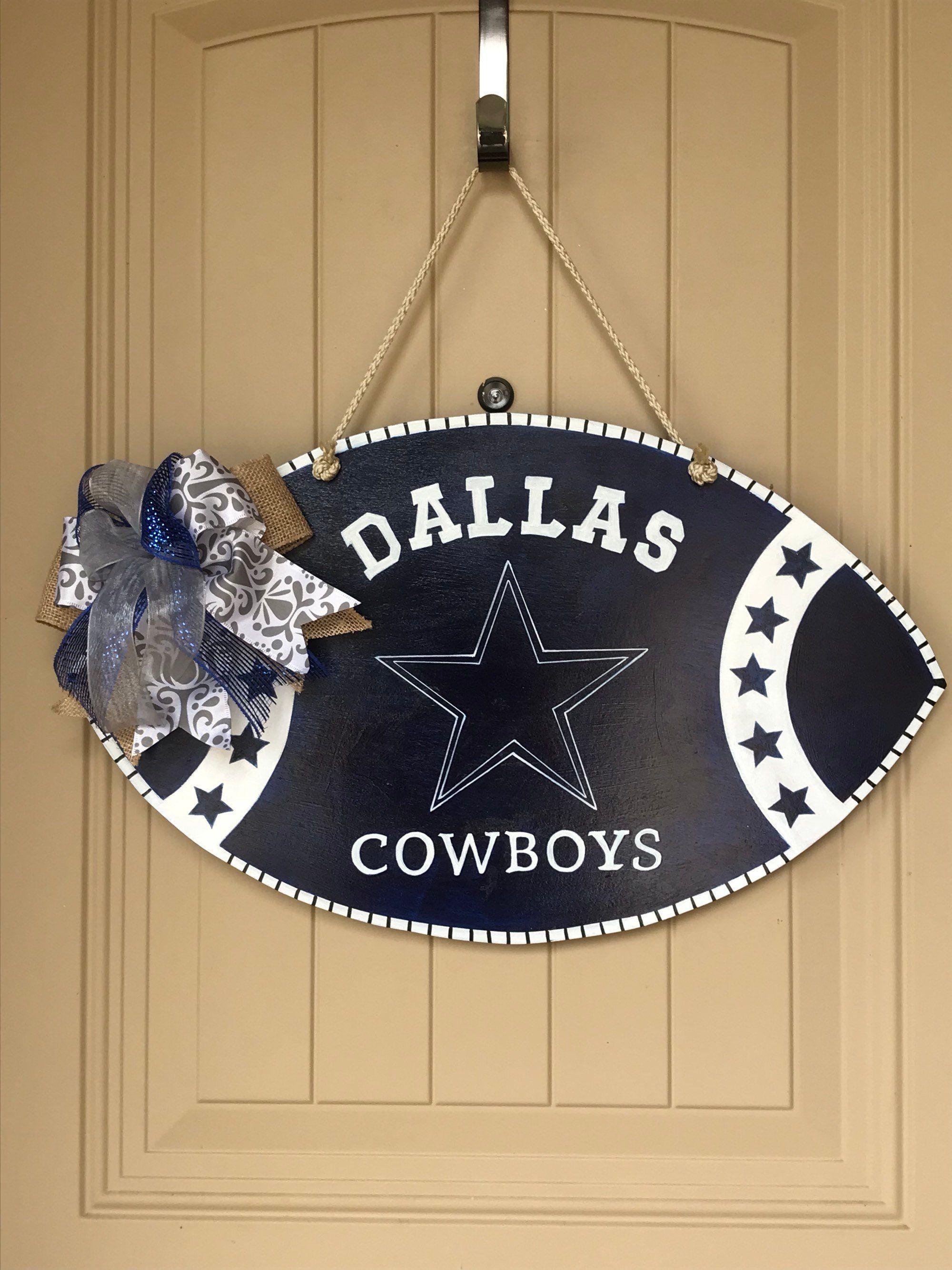 Dallas Cowboys Wood Football Door Hanger Sign Man Cave Wood Etsy Football Door Hangers Dallas Cowboys Decor Dallas Cowboys Football