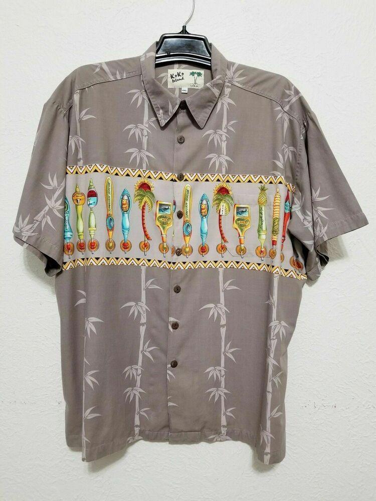 4acccd7b59957 KOKO ISLAND Mens Hawaiian Shirt Size XXL Beige Short Sleeve - Spigot ...