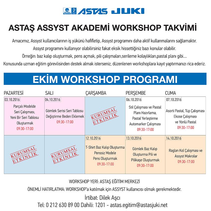 Assyst Workshop Takvimi (Ekim 2016 / 1)