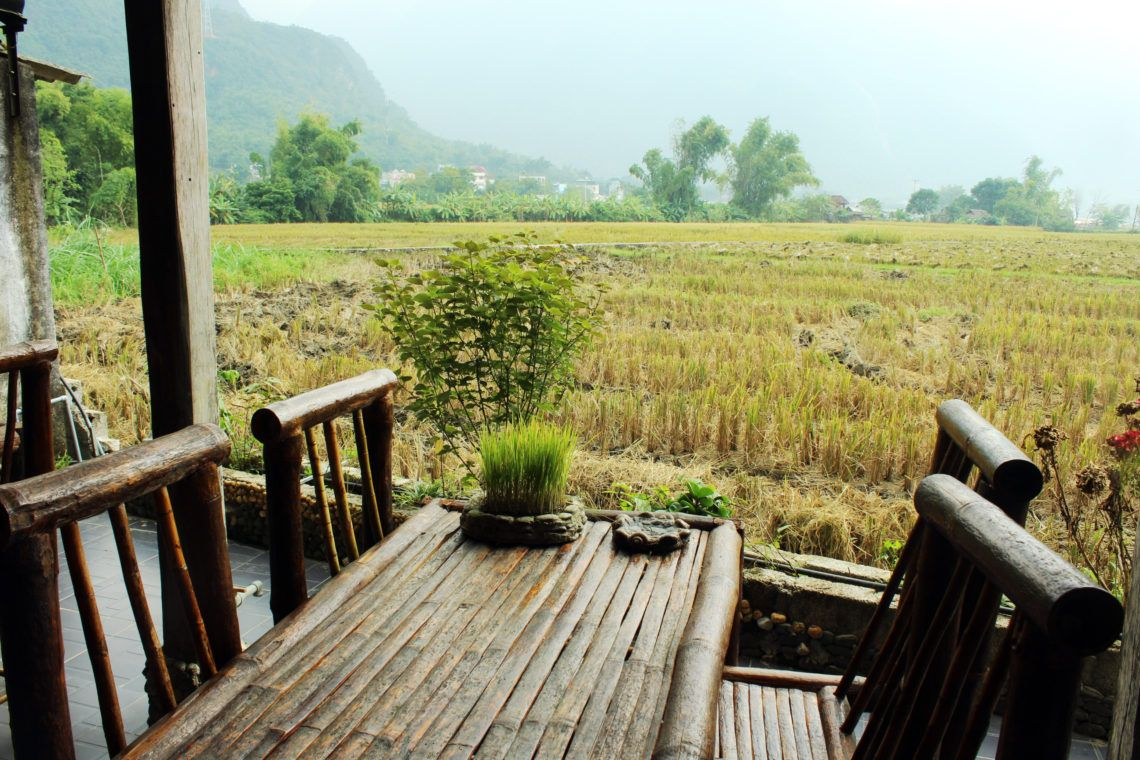 View Of Rice Paddy Fields From The Cafe At The Manmade Stream At Mai Chau Countryside Homestay House On Stilts Outdoor Decor Countryside