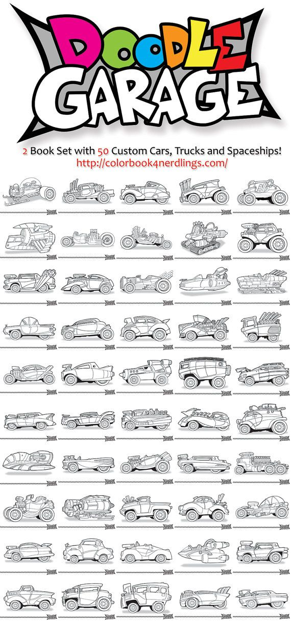 doodle garage 2 book coloring book set 50 cars colorbook4nerdlings by sean mcmenemy