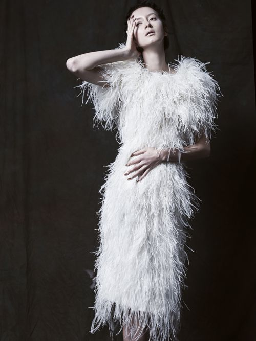 Michelline ostrich feather dress garments pinterest for Wedding dress with ostrich feathers