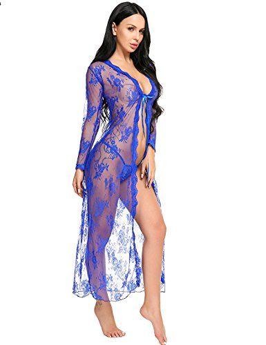 0d620e187 Lomon Lingerie for Women Sexy Long Lace Dress Sheer Gown See Through Kimono  Robe