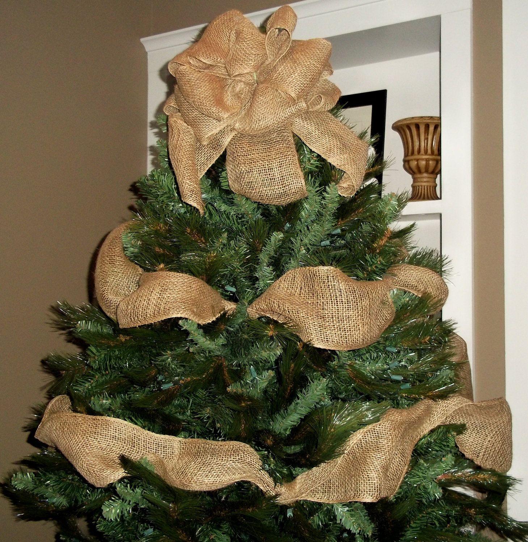 Burlap Christmas Tree Topper Bow with Garland Ribbon Burlap Tree