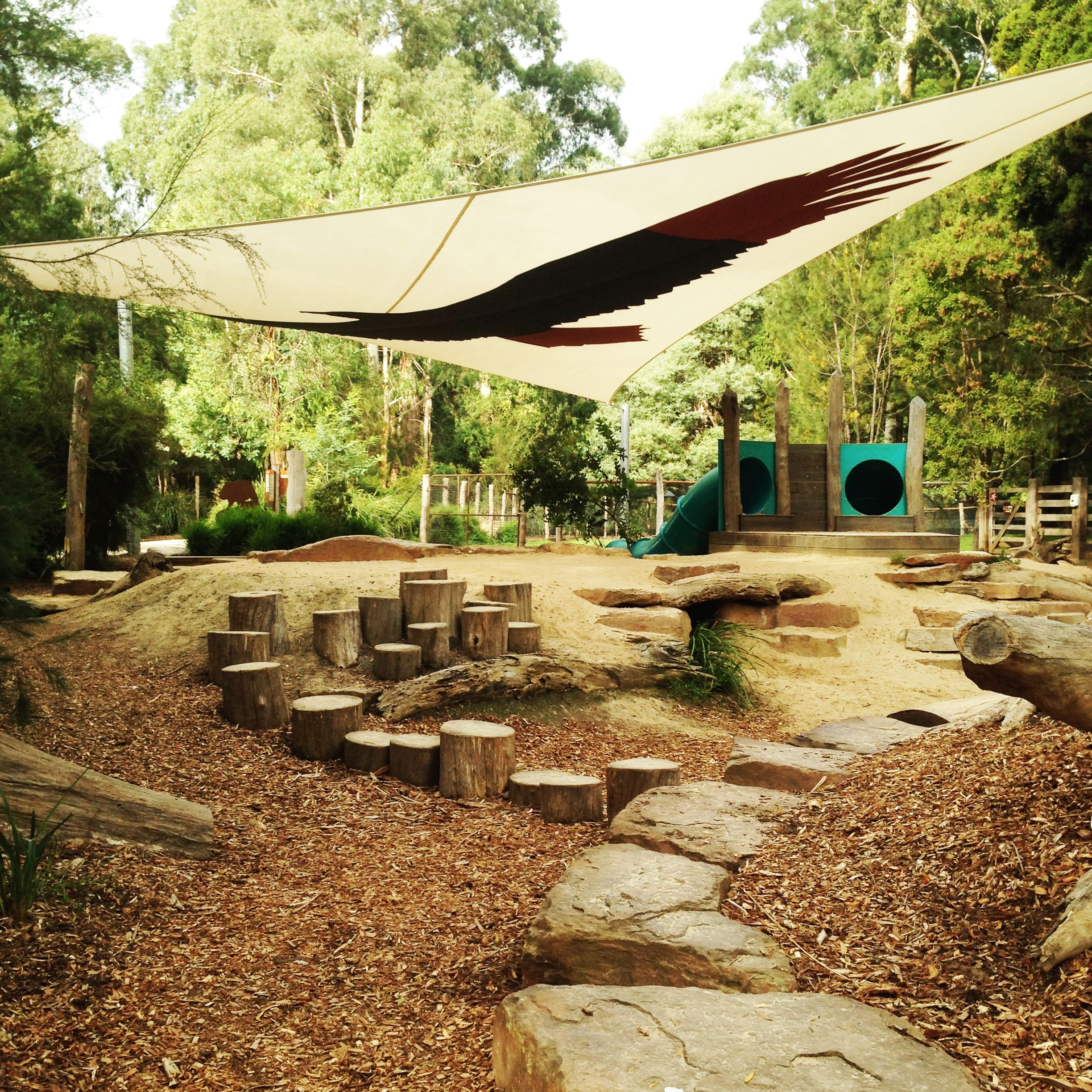 Healesville Sanctuary playground, using logs and rocks as retaining ...