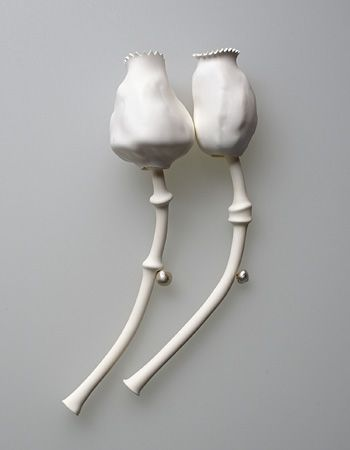 Susanne Klemm  'Capsicum' Brooch in polyolefin and sterling silver. Sold individually (Facere Gallery)