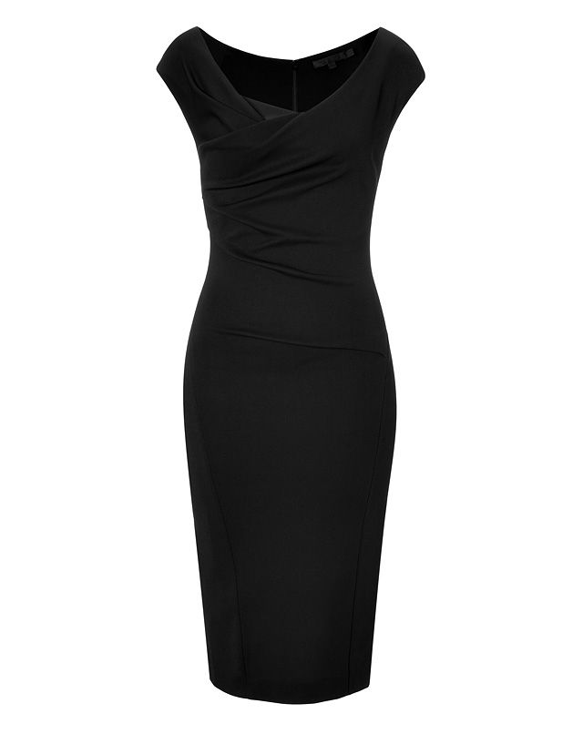 DONNA KARAN Draped Bodice Cap Sleeve Sheath