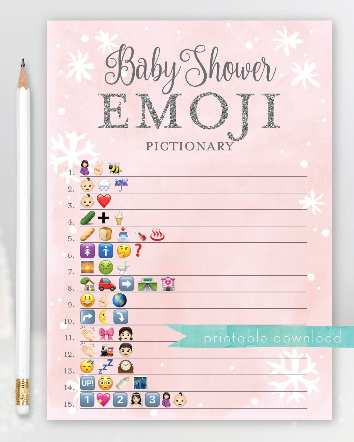 Baby Shower Emoji Answer Key : shower, emoji, answer, Shower, Emoji, Pictionary, Outside, Snowflake, Shower,, Winter,, Winter, Themes
