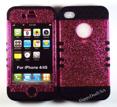 Pink Glitter Cover Case+BLACK Silicone Rubber for APPLE iPhone 4/4S HYBRID Case | eBay