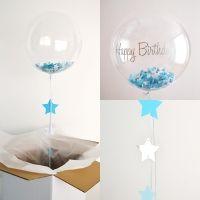 1 globo transparente confetis azules y plateados