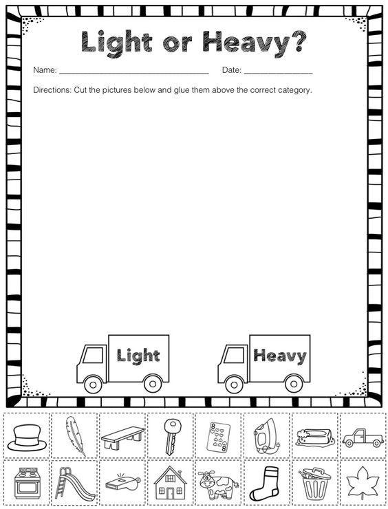 Measurement Capacity Free Heavy And Light Sorting Activity Measurement Kindergarten Kindergarten Math Kindergarten Science