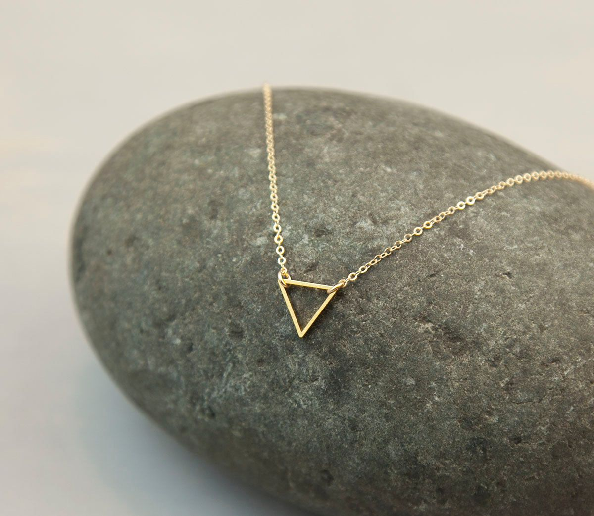 Tiny+Gold+Triangle+Necklace+/+FLOATING+TRIANGLE+by+LayeredAndLong,+$28.00