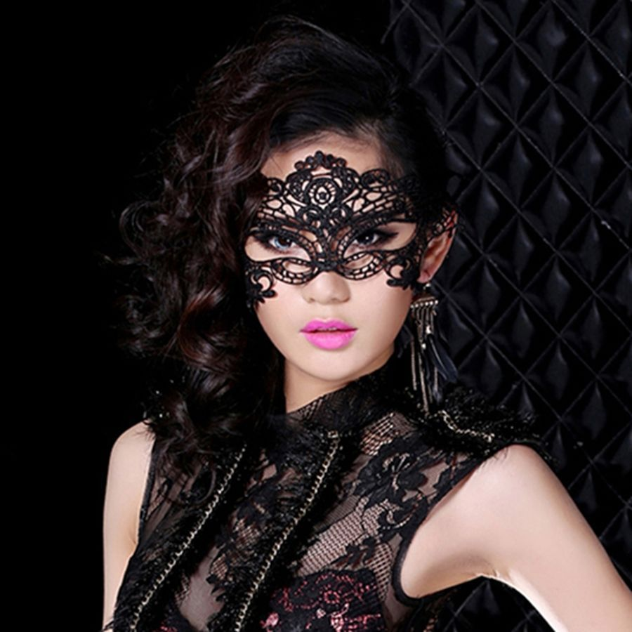 Sexy Black Lace Venetian Mask Masquerade Ball Prom Halloween Costume ...