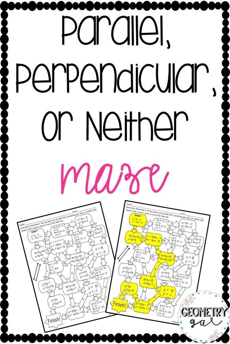 Parallel, Perpendicular, or Neither Maze Secondary math