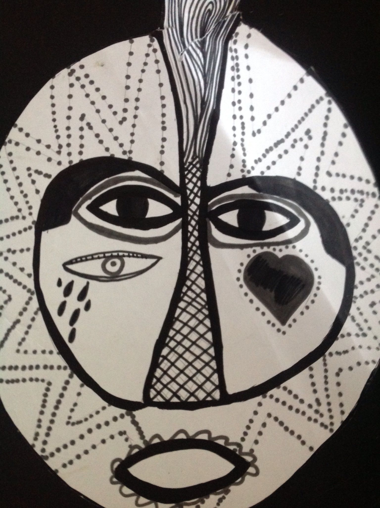 Primary Art Work Inspired By African Mask