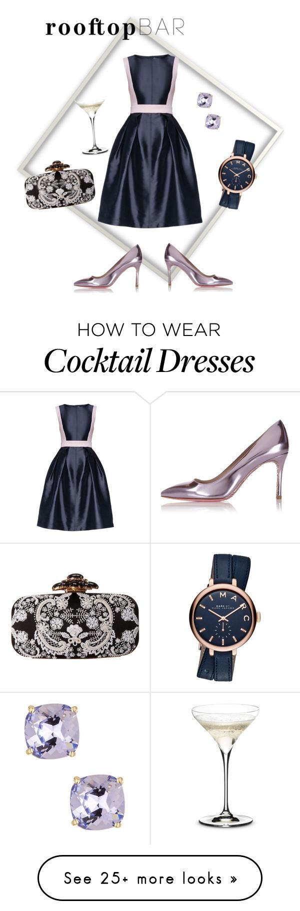 """Cocktail Dress"" by sarashafni on Polyvore featuring Lattori, Miu Miu, Candela, Marc Jacobs, Oscar de la Renta, Riedel, summerdate and rooftopbar"
