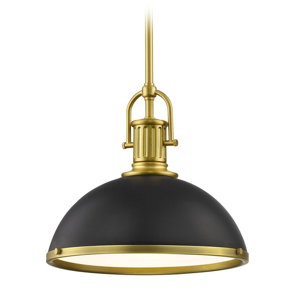 Black farmhouse pendant light with brass 1338inch wide
