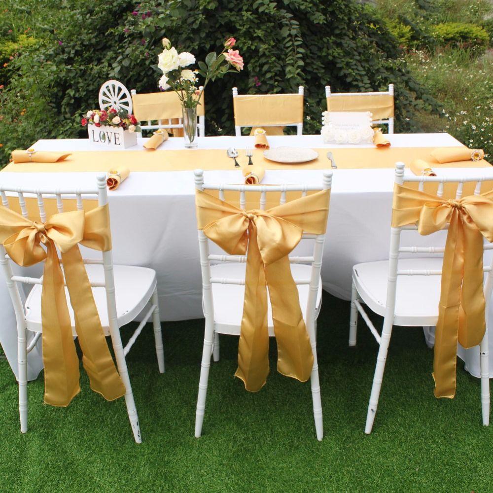 Gold Satin Sash (With images) | Satin sash, Chair covers wedding ...