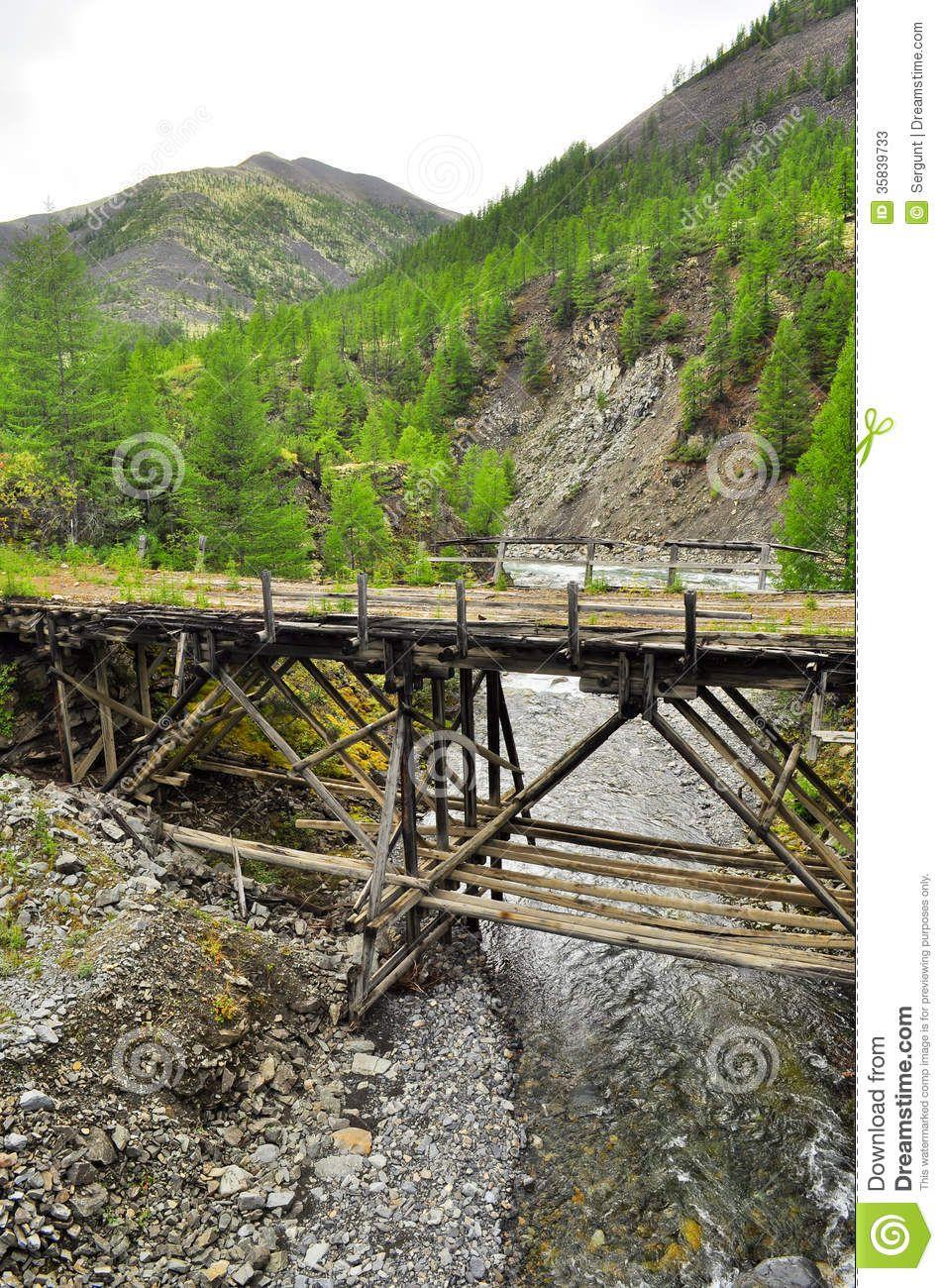 Mountain Bridge Wooden Google Search Wooden Bridge Mountain River The Mountain