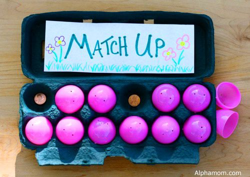 Make a match-up game: can you find the matching pairs of small objects hidden behind the Easter eggs?